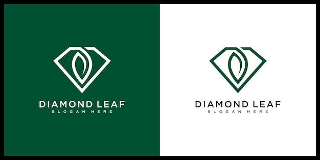 ダイヤモンドの葉のロゴベクトルデザインラインスタイル
