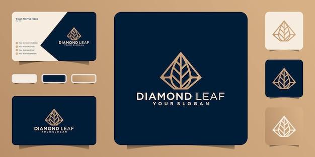 金色のアウトラインスタイルのデザインと名刺とダイヤモンドの葉の形