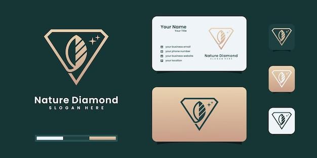 금색 윤곽선 스타일 로고 디자인 템플릿이 있는 다이아몬드 잎 모양.