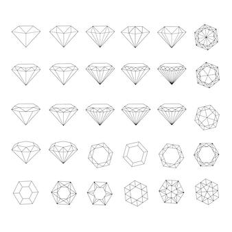 ダイヤモンドラインアイコン。ダイヤモンドアウトライン記号。ダイヤモンドのアイコンを設定します。