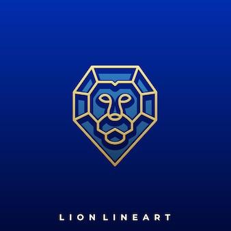 Diamond lion luxury illustration design template