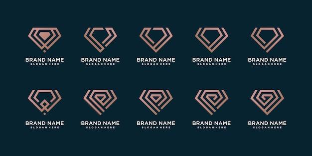 Diamond logo collection with creative line concept premium vector