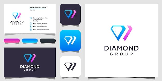 다이아몬드 로고 디자인 영감. 로고 디자인과 명함
