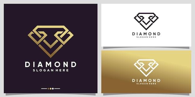 Diamond logo design with line art style and unique concept premium vector