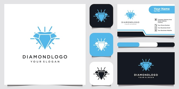 Diamond logo template design and business card