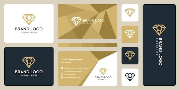 Diamond logo and water drop logo, oil. business card design