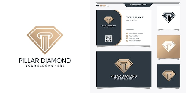 법률 및 명함의 상징이있는 다이아몬드 로고