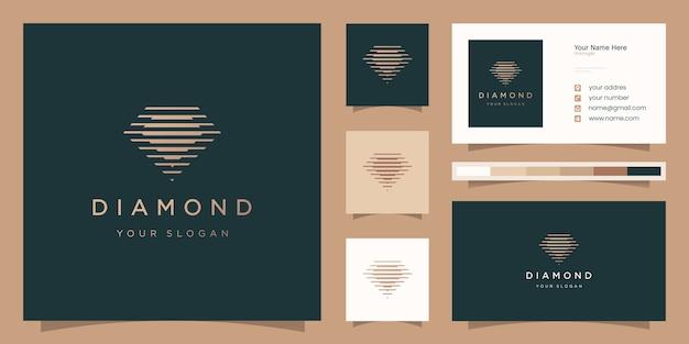 Алмазный логотип с двойным силуэтом и шаблоном дизайна визитной карточки