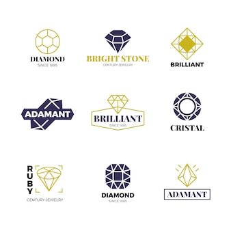 Diamond logos set. luxury labels with sparkle brilliant. diamond, brilliant gemstone logo collection