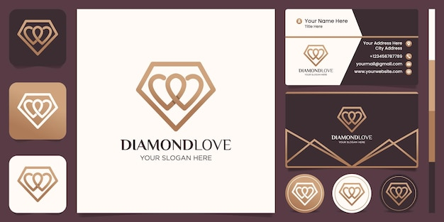 다이아몬드 사랑 라인 로고 디자인 및 명함 디자인