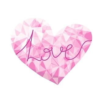 발렌타인 데이 카드, 포스터, 포장 및 디자인을 위한 다이아몬드 로우 폴리 벡터 하트. 원래 종이 접기 종이 핑크 하트, 흰색 배경에 고립. 기하학적 rumpled 삼각형 스타일 그림입니다.