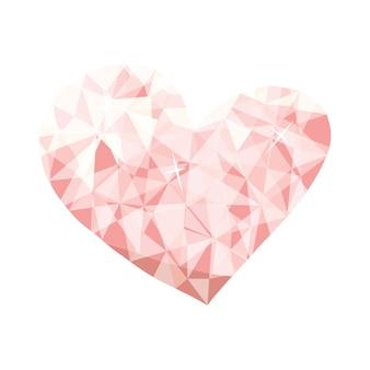발렌타인 데이 카드에 대한 다이아몬드 낮은 폴리 벡터 심장 원래 종이 접기 종이 핑크 하트