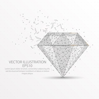Diamond low poly wire frame on white background.