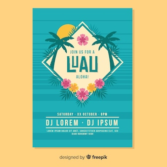 Diamond luau party poster template
