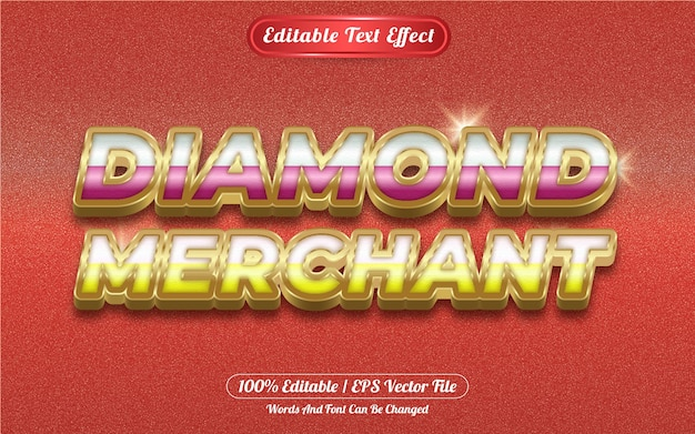 Diamond merchant editable text effect golden themed