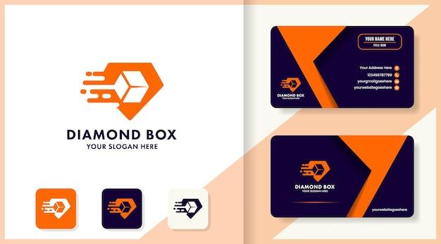Diamond negative box logo design and business card