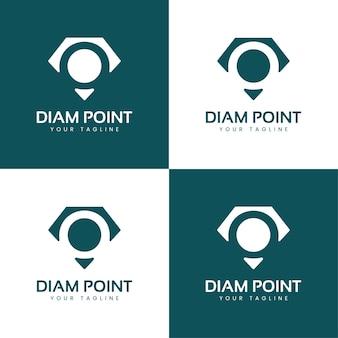 Diamond pin o monogram jewellery logo o diamond minimalist abstract logo template