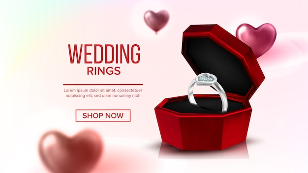 Diamond platinum ring in box landing page