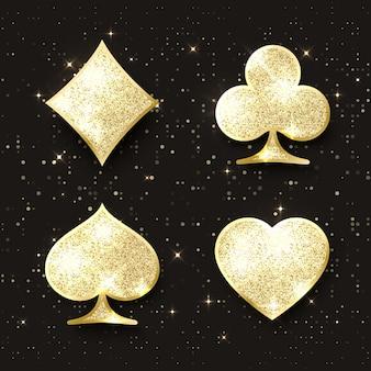 ダイヤモンドポーカーカードが合います。 4つのカジノトランプゴールデンキラキラシンボル。デザイン要素。ベクトルイラスト