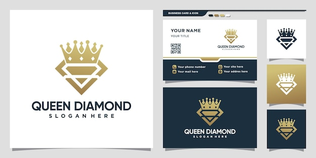 Diamond queen logo with line art style and business card design premium vector