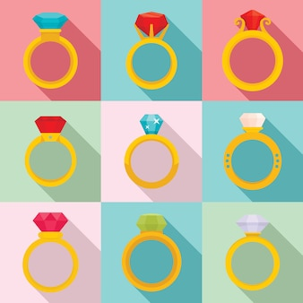 Diamond ring icons set, flat style