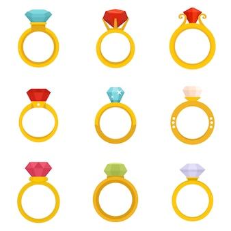 Diamond ring icons set