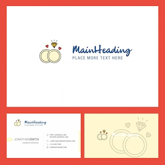 Diamond ring logo  with tagline & front and back busienss card template.
