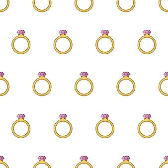 白い背景の上のダイヤモンドリングシームレスパターン。結婚式のテーマのベクトル図