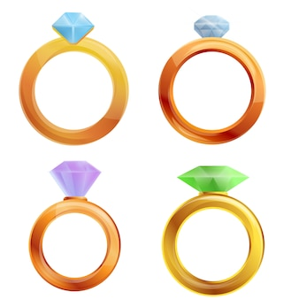 Diamond ring set, cartoon style