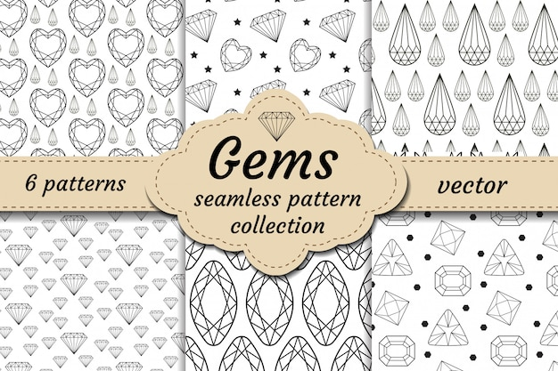 Diamond seamless pattern set, line, sketch, doodle style. modern trendy endless background with jewelry. gems repetitive texture. gemstone wallpaper, backdrop, paper.  illustration.