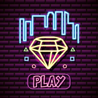 Diamond shape with buildongs, brick wall, neon style