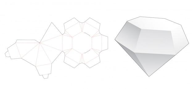 Diamond shaped box die cut template