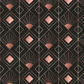 Diamond shapes rose gold art deco pattern