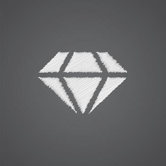 暗い背景で隔離のダイヤモンドスケッチロゴ落書きアイコン