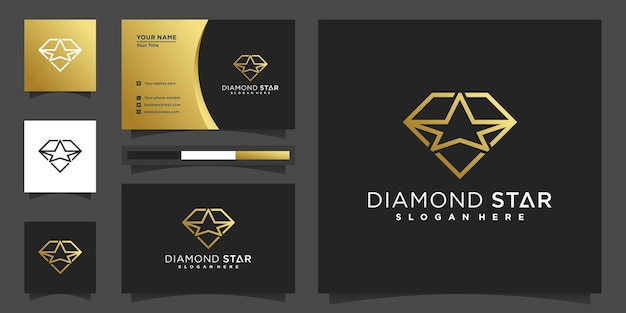 Diamond star logo with golden gradient  colours concept and business card design premium vecto