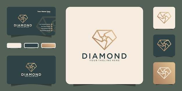 スタイリッシュなアウトラインデザインと名刺のインスピレーションとダイヤモンドの星のロゴ