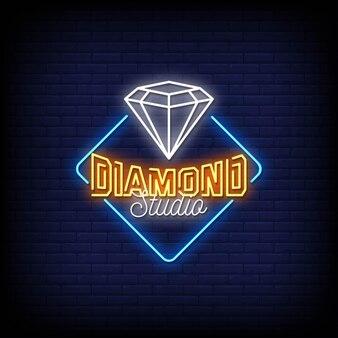 Diamond studio logo neon signs style text