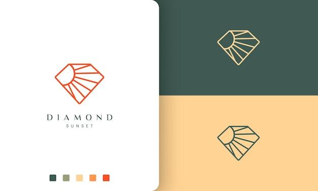 シンプルなラインアートとモダンなスタイルのダイヤモンド太陽のロゴ