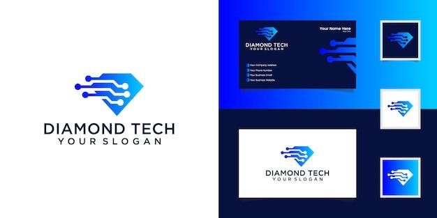 다이아몬드 기술 로고 디자인 벡터 템플릿 및 명함