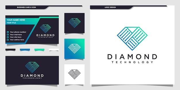 현대적인 그라디언트 라인 아트 스타일과 명함 디자인이 있는 다이아몬드 기술 로고 premium vector