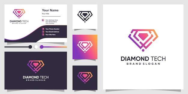 간단하고 독특한 라인 아트 스타일의 다이아몬드 기술 로고 premium vector