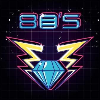 Diamond and thunderbolt of label eighties retro