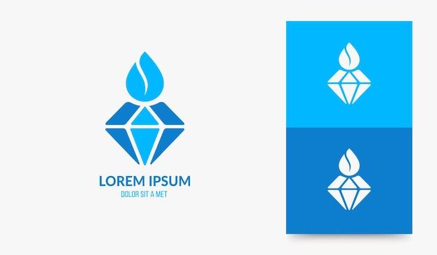 다이아몬드 워터 드롭 로고 디자인, 천연 미네랄 워터 아이콘. 물방울 로고 개념