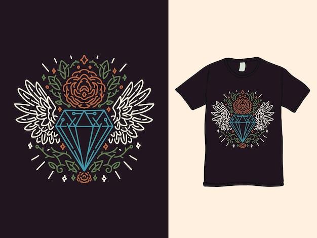 Diamond wings and the roses monoline tshirt design