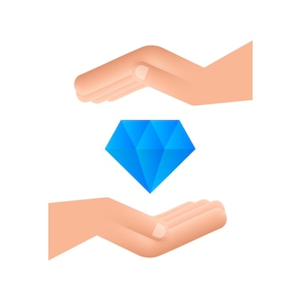 Diamond with hand icon design diamond with hand icon in trendy flat style design