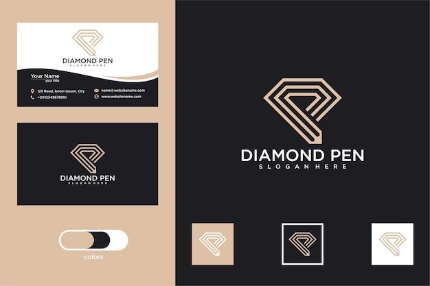 연필 로고 디자인과 명함이 있는 다이아몬드