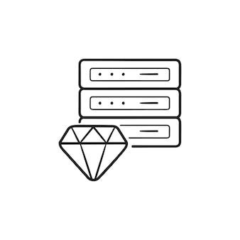 サーバーの手描きのアウトライン落書きアイコンとダイヤモンド。専用サーバーホスティング、プレミアム品質のホスティングコンセプト