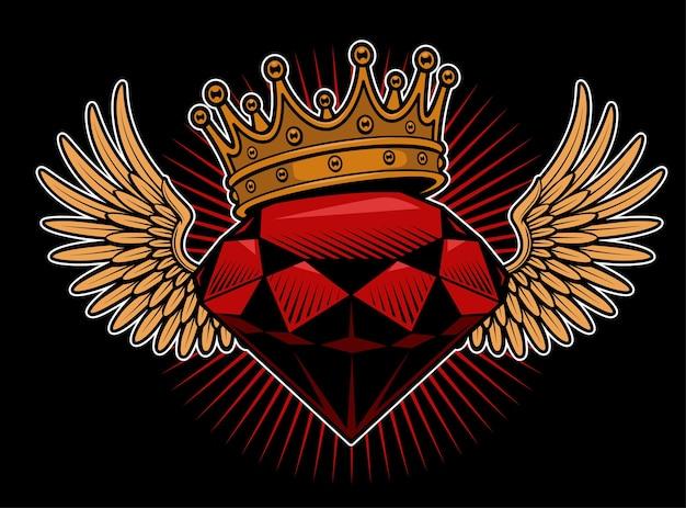 翼と王冠を持つダイヤモンド。たわごとのタトゥー。すべての要素は別のレイヤーにあります。