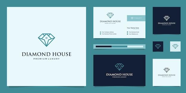 ダイヤモンドと家。不動産業者、ホテル、住宅の抽象的な設計概念。建物のシンボル。ロゴデザインと名刺テンプレート。