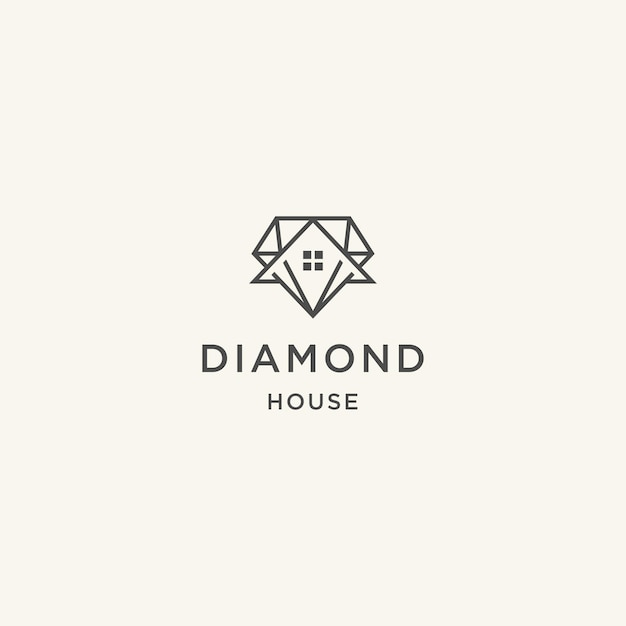 不動産業者のためのダイヤモンドと家の抽象的なデザインコンセプト